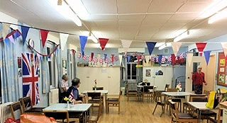 The bunting and flags